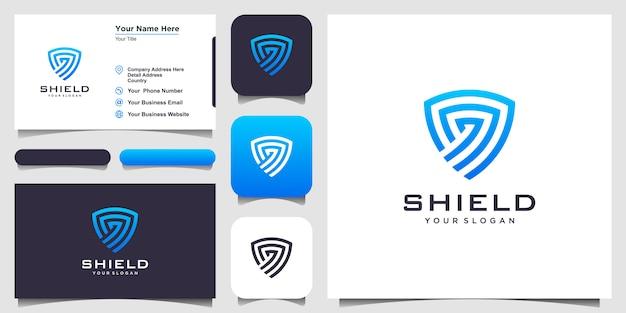 Креативные щит концепция шаблонов. значок и визитка