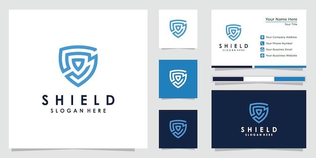 Креативные шаблоны дизайна логотипа щита. дизайн логотипа и визиток. премиум