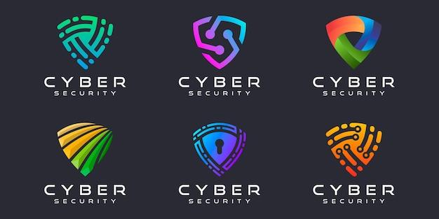 크리에이 티브 방패 로고 아이콘 세트 보안 로고 디자인 서식 파일의 추상적인 상징