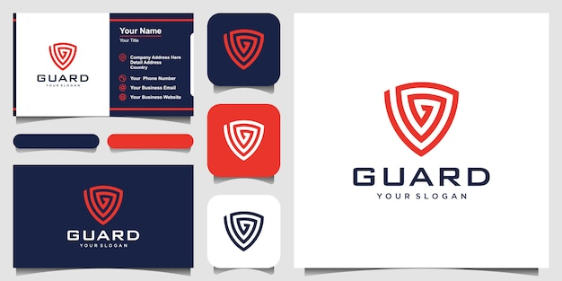 Creative shield with letter g concept logo design templates. business card design
