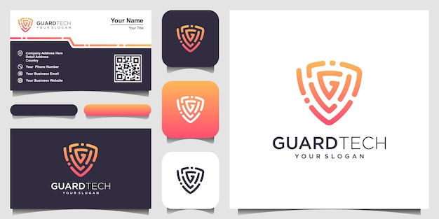 Creative shield with letter g concept logo  templates. business card