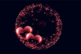 輝きフレームと創造的な光沢のあるバブルの心
