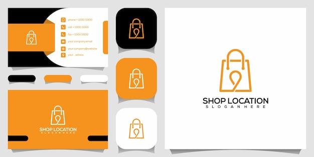 クリエイティブショップの場所、場所のロゴデザインテンプレートと組み合わせたバッグ