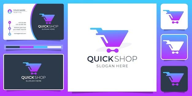 Creative shop logo modern design with business card template. online shop logo, gradient, branding.