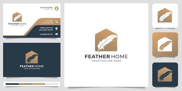 Креативный фирменный логотип из перьев и домашняя плоская концепция дизайна. логотип и шаблон визитной карточки.