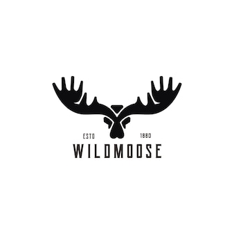 Creative silhouette moose with design vector