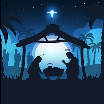 Creative silhouette nativity scene