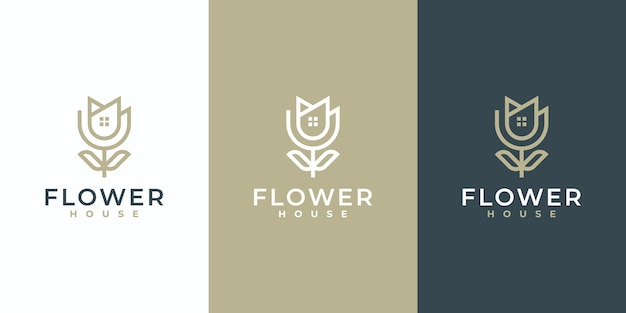 Creative simple flower symbol with combination house logo design