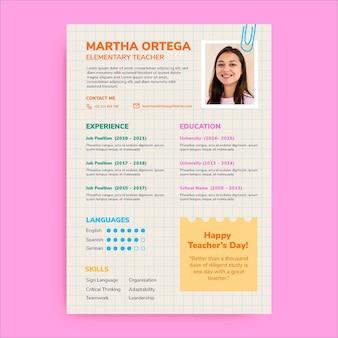 Curriculum per la giornata degli insegnanti semplice e creativo
