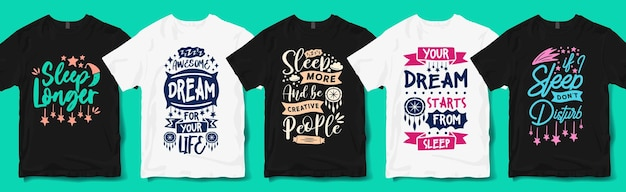 Creative sleep and dream quotes typography hand lettering t shirt designs bundle. sleep lover quote