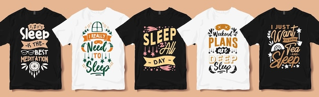 Creative sleep quotes typography hand lettering t shirt designs pack. sleep lover quote