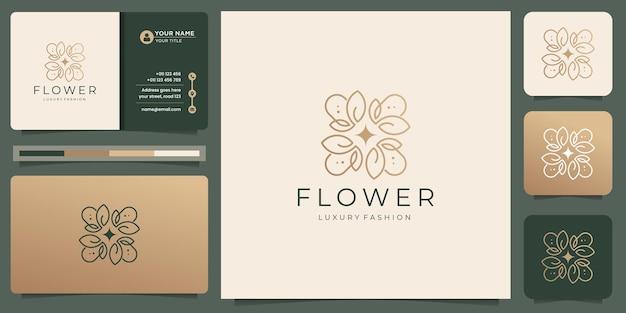 Творческий тонкий цветочный шаблон логотипа с дизайном визитной карточки. цветочный логотип для роскошной моды, салон.