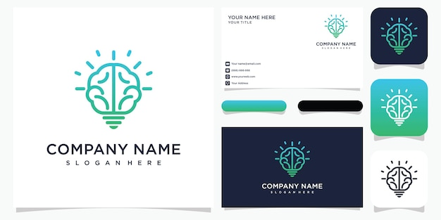 Creative smart brain logo illustration and business card