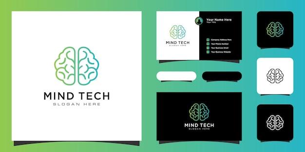 Creative smart brain technology logo design illustration and business card