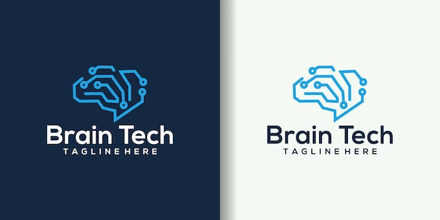 Иллюстрация дизайна логотипа технологии творческого умного мозга.