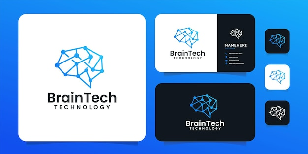 Creative smart clever brain technology logo design for business company