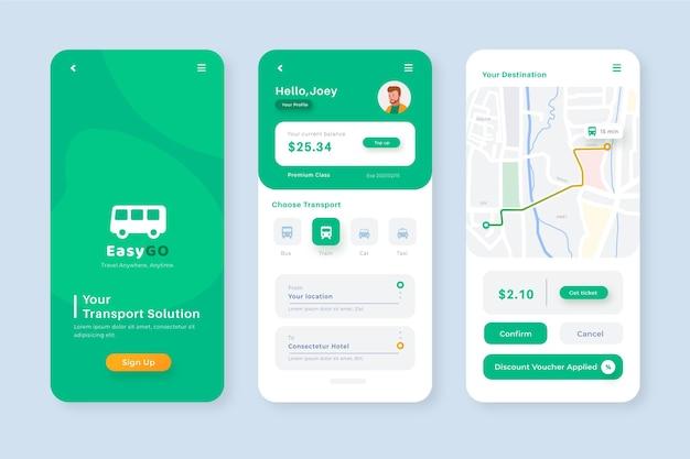 公共交通機関用のクリエイティブなスマートフォンアプリテンプレート
