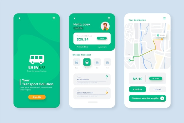 Creative smartphone app for public transport template
