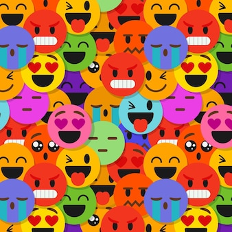 Creative smile emoticons pattern