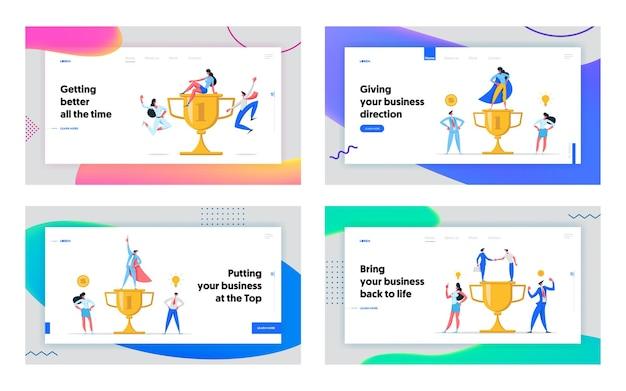크리 에이 티브 소셜 비즈니스 성공 개념 방문 페이지 세트