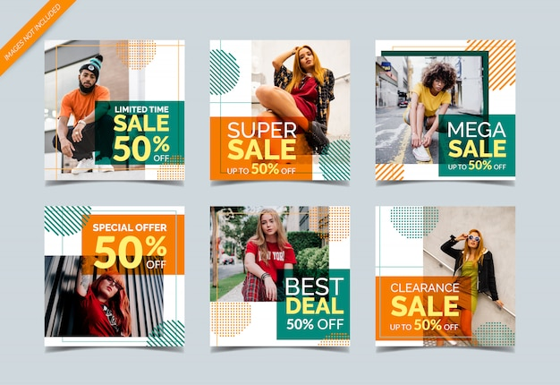 Creative social media banner collection for fashion sale