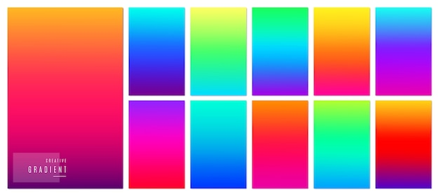 Creative soft gradient color design for mobile app. bright modern concept set.