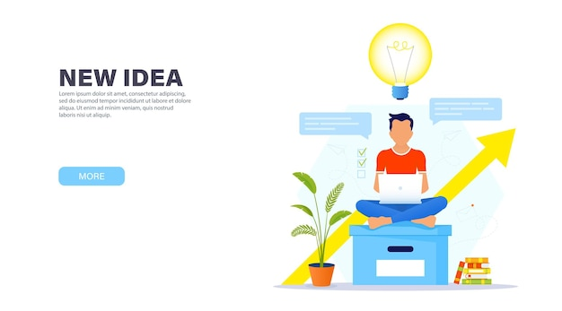 Концепция творческого решения. парень сидит на большом офисном ящике в позе лотоса с ноутбуком и в непринужденной обстановке работает над новой творческой идеей.