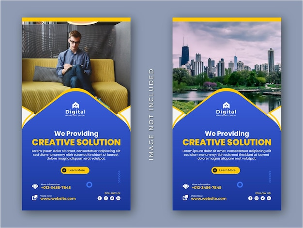 Creative solution marketing agency and corporate business flyer modern instagram stories social media post banner template