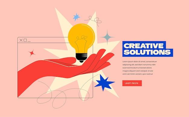 손으로 창의적인 솔루션 또는 아이디어 웹 템플릿이 전구로 화면에서 나옵니다.