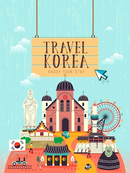 평면 스타일의 크리에이 티브 한국 여행 컨셉 포스터