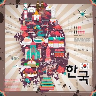 평면 디자인의 크리에이 티브 한국 여행지도 디자인 - 오른쪽 하단의 한국어 단어로 된 한국