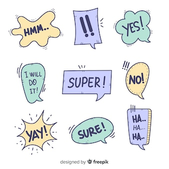 Creative speech bubbles with different expressions