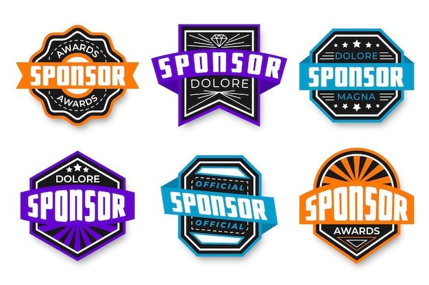 Creative sponsoring badges set