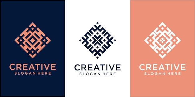Creative square community logo design inspiration. abstract community logo design