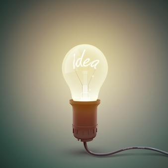 Creative square with conceptual image of incandescent lamp screwed in bulb with luminant word idea inside illustration