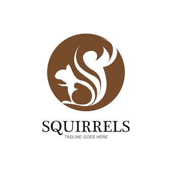 Творческий белка животных логотип дизайн значок символ иллюстрации вектор