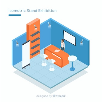 Creative stand exhibition in isometric design