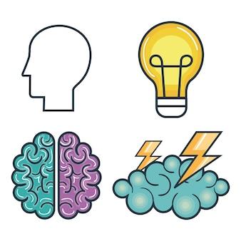 Creative startup set icons
