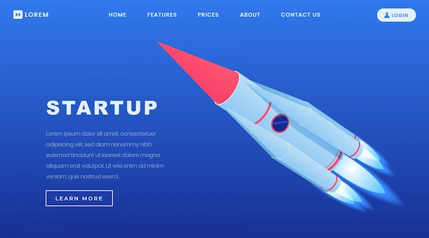 Creative startups isometric landing page template
