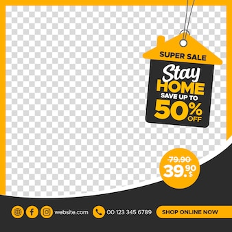 Creative stay home sale banner template