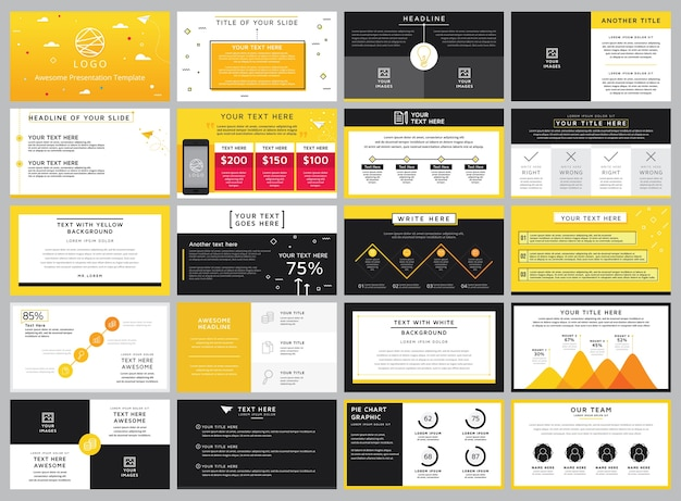 Creative stock vector yellow and black elements for info graphic