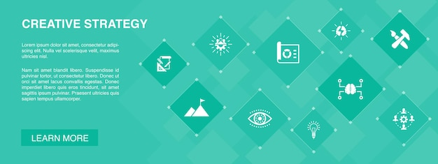 Creative strategy banner 10 icons concept.vision, brainstorm, collaboration, project simple icons