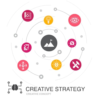 Creative strategy colored circle concept with simple icons. contains such elements as vision, brainstorm, collaboration, project