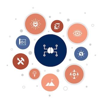 Креативная стратегия инфографики 10 шагов пузырь дизайн. видение, мозговой штурм, сотрудничество, проект простые значки
