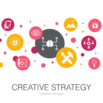 Creative strategy trendy circle template with simple icons. contains such elements as vision, brainstorm, collaboration, project