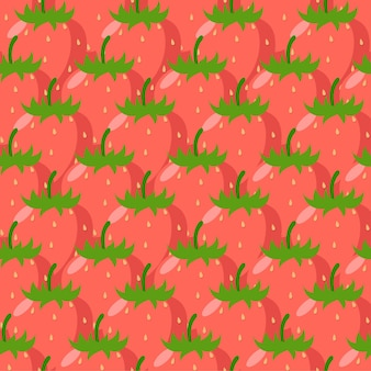 Творческий клубника бесшовные модели с красными ягодами. векторная иллюстрация.