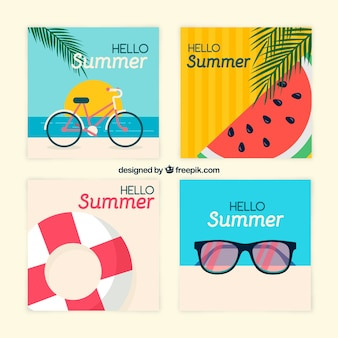 Creative summer card collection of four