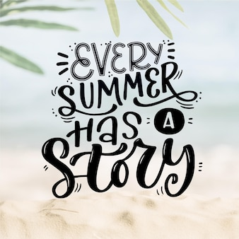Creative summer lettering with picture