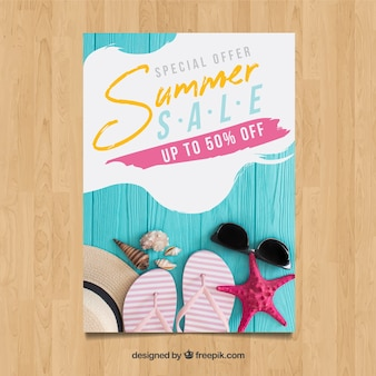 Creative summer sale flyer template with image