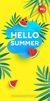 Creative summer sale poster in trendy bright colors with tropical leaves and bubble form